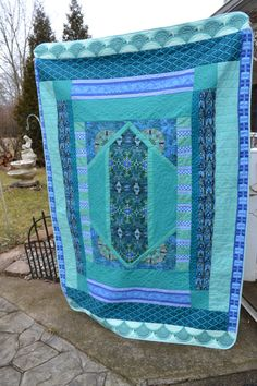 blue quilt bedding teal | ... Decor Teal Blue Green Throw Art Deco inspired Luxury Bedding Quilt
