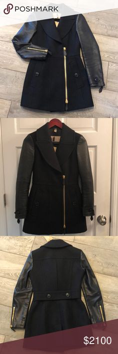 NWT stunning Burberry coat!  So special! Brand new Burberry Brit coat. Leather sleeves and wool blend coat. Gorgeous details. The back is as beautiful as the front! Authentic Burberry. Burberry Jackets & Coats