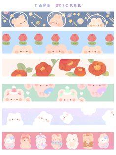 Journal Stickers, Scrapbook Stickers, Planner Stickers, Printable Scrapbook Paper, Stickers Kawaii, Cute Stickers, Korean Stickers, Cute Notes, Cute Doodles