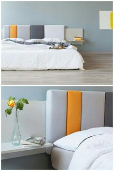 Thisi is a modular headboard system made up of movable components to change the look anytime you want a new look.