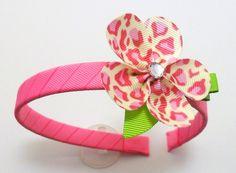 pink cheetah Flower headband. $7.00