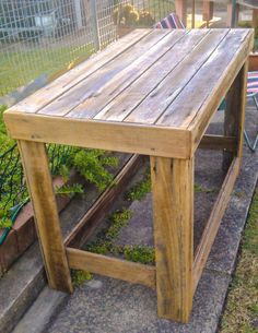 Reclaimed timber potting table by Mitchell and me. Lovin it.