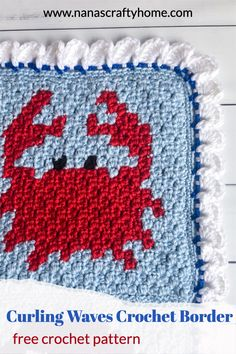 The Curling Waves Crochet Border is a unique and fun border with a unique appearance. Looks like a curling ocean wave! Perfect edging for baby blankets! Crochet Border Patterns, Crochet Blanket Border, Crochet Designs, Crochet Stitches, Afghan Patterns, Crochet Tutorials, Crochet Squares, Crochet Blankets, Baby Blankets