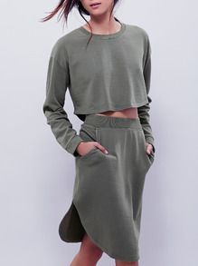 Army Green Long Sleeve Crop Top With Skirt Suits