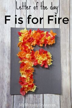 Fun preschool alphabet craft. Letter of the day- F is for fire. Fun for firefighter week or when learning about fire safety.