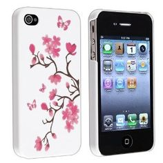 Amazon.com: $2 eForCity Slim Fit Snap-on Rubber Coated Case Compatible With Apple® iPhone® 4 iPhone® 4S - AT, Sprint, Version 16GB 32GB 64GB - Version, White Peach Blossom Butterfly: Cell Phones & Accessories