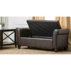 Abbyson Living CI D10363 BEN Easton Bonded Leather Storage Ottoman Bench In  Dark Brown