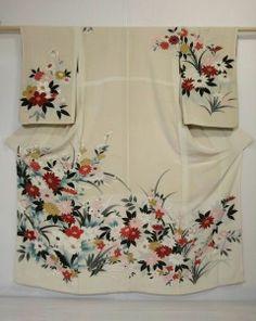 Japanese Kimono silk VINTAGE TSUKESAGE Off-white, Flowers, Dyeing, 0331M9