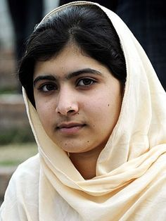 Malala Yousafzai Picture- The Face of Courage. Stood up for girls education and shot by the Taliban on school bus.  Remarkable recovery and advocate for reform in Pakistan.