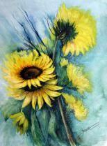 """Sonnenblumen"", mit Passepartout 80 x 60 cm"