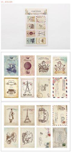 Antique Stamp Sticker Set v1