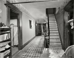 "New Baltimore, Michigan, circa 1901. ""The Firs -- upper hall."" A look inside the Hatheway residence. 8x10 glass negative, Detroit Publishing Co."
