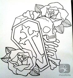 ... tattoo designs skull heart coffin and roses outline tattoos designs
