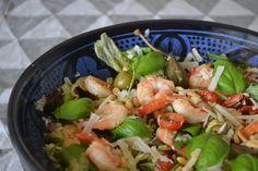 Mijn kookavonturen: Salade met knoflookgarnalen