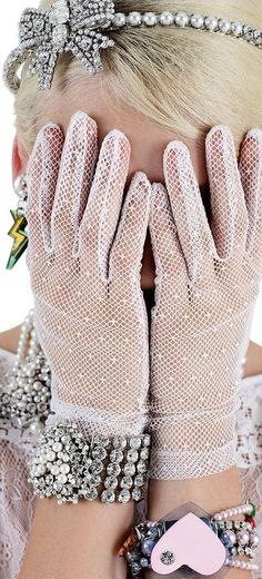 lace gloves and bling Bling Bling, Jewel Hands, Lace Gloves, Dress Gloves, Pearl And Lace, Diamond Are A Girls Best Friend, Girly Girl, Pink Girl, Girly Things