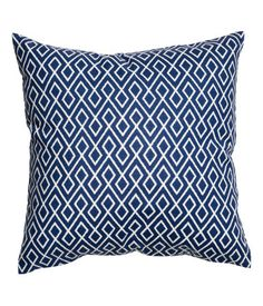5bd083ab White/dark blue. Cushion cover in woven cotton fabric with a printed  pattern.