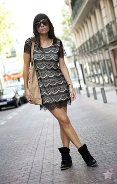 sneakers and lace dress / street style  bárbara crespo  http://www.elblogdebarbaracrespo.com/