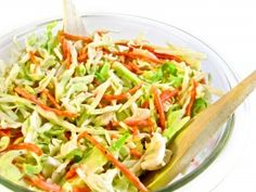 Simply Crunchy, Skinny Slaw...The secret to making this yummy slaw so crunchy is to toss it in the dressing just before serving. Each serving has 78 calories, 3 grams of fat and 3 Weight Watchers POINTS PLUS. http://www.skinnykitchen.com/recipes/simply-skinny-crunchy-slaw/