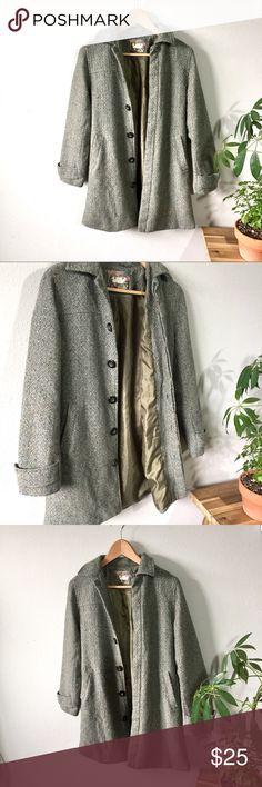 """Tweed Jacket Beautiful grayish greenish tweed jacket with poly liner. Two front slit pockets and brown buttons. Fits a size 6 best. Measure accordingly. 32"""" down back, 17"""" across bust, 16"""" waist, 18"""" hips and 15"""" down sleeves. Clean and smoke free home. Eyeway Jackets & Coats"""