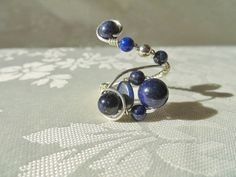 Wire wrapped adjustable Ring Lapis Lazuli, sterling silver, OOAK