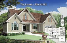Plan of the Week - The Lyman 1292 http://www.dongardner.com/plan_details.aspx?pid=4403 3 beds, 2 baths, 1,629 sq. ft, with a single dining space, utility room with counter, and dual walk-in closets in the master suite! #Small #Home #Designs #Traditional