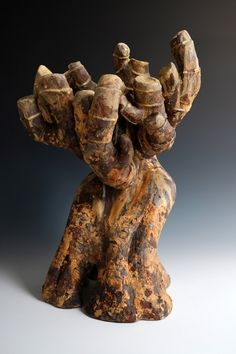Growth, original stoneware sculpture by Beverly Morrison, 16.5 in. tall. Available for purchase at the Jed Malitz V2 Gallery (www.jedmalitzv2.com)