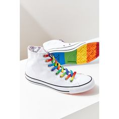 Converse Chuck Taylor All Star Pride Core High Top Sneaker ($65) ❤ liked on Polyvore featuring shoes, sneakers, cap toe shoes, rainbow sneakers, converse sneakers, cap toe sneakers and lace up shoes