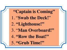 """""""Captain is Coming""""--Directions on how to teach and conduct this large group warm-up"""