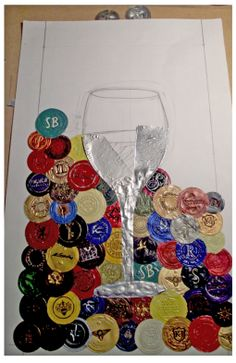 Wine Glass (in progress) - mosaic wine art by Jason Szakal - Art You Need