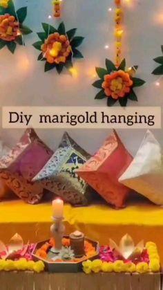 Diwali Decorations At Home, Diy Wedding Decorations, Festival Decorations, Flower Decorations, Diwali Diy, Diwali Craft, Diy Crafts Hacks, Diy Home Crafts, Ganpati Decoration Design