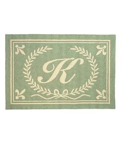Take a look at this 123 Creations Green Initial Rug by Make it Yours: Custom Décor on #zulily today!