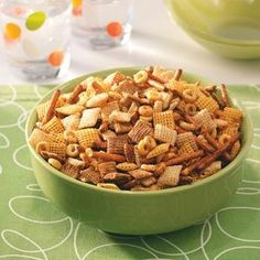 Healthy Snack Mix Recipe-- made this and it is yummy! Just like Chex Mix, but with olive oil instead of butter-- it's just a bit less unhealthy and perfect for when you crave something salty