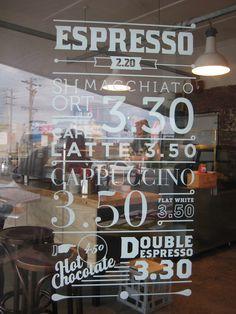 White text, Coffee Menu, Door Decal, Window Decal artwork by www.caramelcreative.com