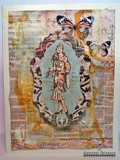 """using the """"Flapper Fashions"""" stamps along with papers, gesso and paints"""