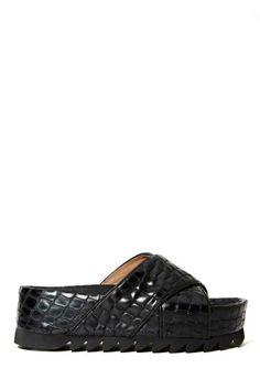 Jeffrey Campbell Menorca Platform Sandal - Black Croc
