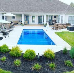 Inspiring Small Pool Remodel for Your Backyard - Homeadzki Website pool landscaping Backyard Pool Landscaping, Backyard Pool Designs, Small Backyard Pools, Small Pools, Landscaping Ideas, Fiberglass Swimming Pools, Swimming Pools Backyard, Swimming Pool Designs, Inground Pool Designs
