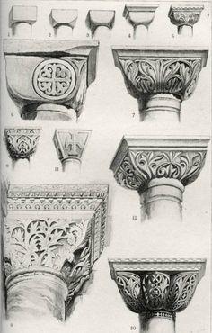 Byzantine Capitals. Convex Group, by John Ruskin