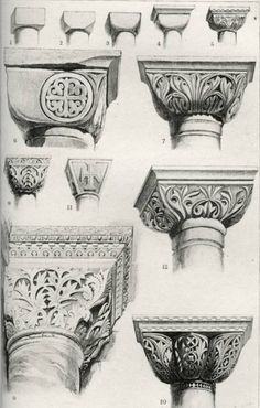 Byzantine Capitals. Convex Group, by John Ruskin