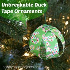Unbreakable DIY Duck Tape Ornaments at www.happyhourprojects.com #DuckTheHalls #sponsored