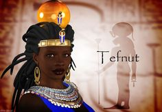 goddess tefnut: goddess of moisture, moist air, dew and rain in Ancient Egyptian religion. She is the sister and consort of the air god Shu and the mother of Geb and Nut. Tefnut is a daughter of the solar god Ra-Atum. Married to her brother, Shu, she is mother of Nut, the sky and Geb, the earth. Tefnut's grandchildren were Osiris, Isis, Set, Nephthys, and in some versions, Horus the Elder (Heru Wer). She was also a great grandmother of Horus the Younger.