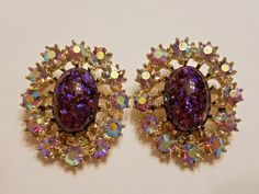 Vintage Coro purple aurora borealis rhinestone clip earrings