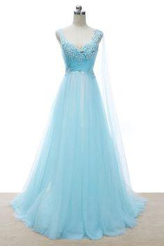 Charming Homecoming Dress,Elegant Long Homecoming Dresses,Appliques Blue Prom
