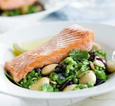 Baked Salmon with crushed butter beans & pea mix