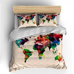 Watercolor World Map Custom Bedding Toddler Tw Qu or by redbeauty