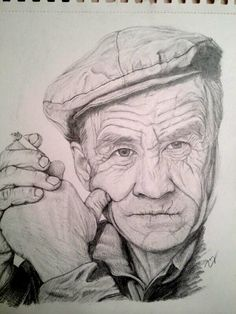 Old Man by zazafras on DeviantArt Human Face Sketch, Male Face Drawing, Guy Drawing, Drawing People, Face Art, Portrait Sketches, Portrait Art, Art Sketches, Pencil Drawings Of Girls
