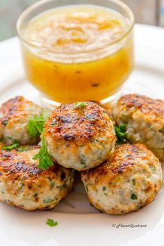 Thai Chicken Cakes with Sweet and Spicy Mango Chutney - Flavor Quotient - thai chicken cakes with sweet and spicy mango chutney - Indian Food Recipes, Asian Recipes, Healthy Recipes, Thai Recipes, Thai Chicken Recipes, Mexican Recipes, Chicken Cake, Asian Cooking, Appetisers