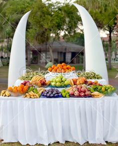 Fruit table for the buffet table at the festival