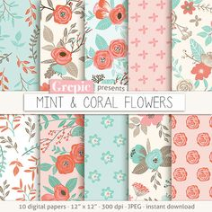 "Floral digital paper ""MINT & CORAL FLOWERS"" vintage flowers hand drawn patterns floral background flower pattern garden spring summer by Grepic"