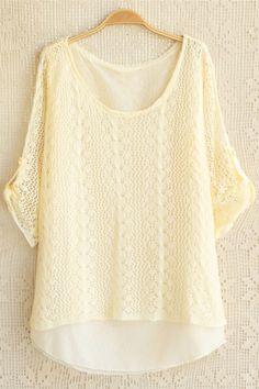 Chiffon Lined Cutout Sweater OASAP.com