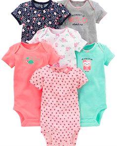 Simple Joys by Carters Baby Fille Lot de 6 bodies /à manches courtes